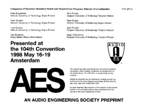 AES - Comparison of Numerical Simulation Models and Measured Low-Frequency Behavior of Loudspeaker Enclosures