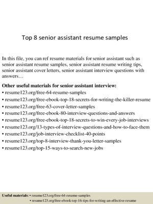Top 8 senior executive assistant resume samples