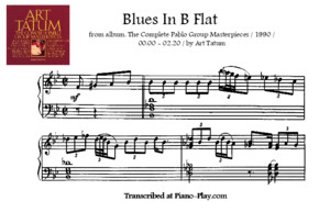 Transcription - Blues in B Flat by Art Tatum