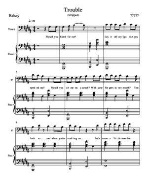Trouble (Stripped) - Halsey Piano Sheet Music