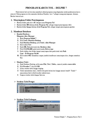 Tutorial Program Karcis Tol