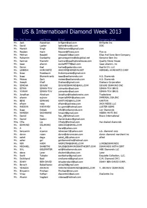 Us International Diamond Week August 2013 Buyers List