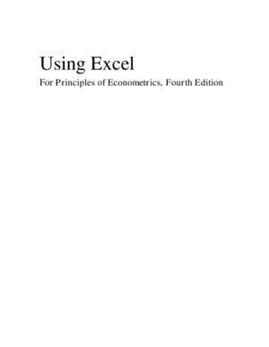 Using Excel for Principles of Econometrics3e