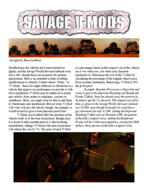 V-Mods Savage Worlds