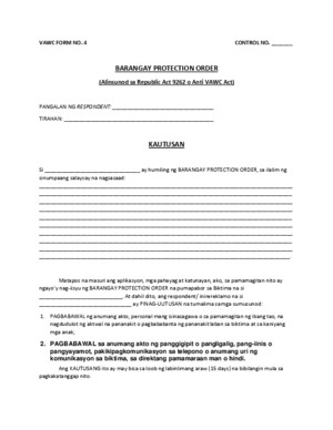 Vawc Form No 4 Protection Order
