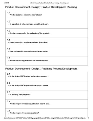 VDA 63 Process Audit and Checklist for the Car Industry - NimonikApp