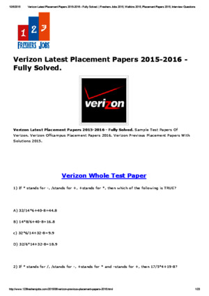 Verizon Latest Placement Papers 2015-2016 - Fully Solved