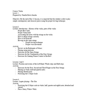 Violin Lesson Plan for Bucor