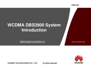 WCDMA DBS3900 Introduction