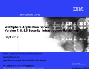 WebSphere Application Server 85 Security Hardening