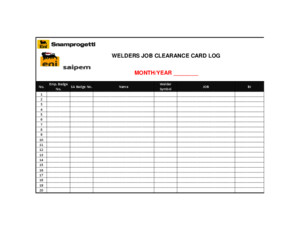Welder Job Clearance Card Log